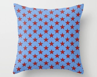 Stars Pillow Cover Red Stars Pillow Nautical Pillow Throw Pillow Patriotic Pillow Size Choice