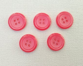 Set of 5 round vintage buttons. Pink buttons.  B40