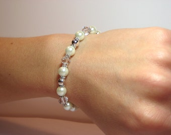 White Wedding - Interchangeable Beaded Watch Band