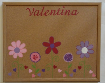 17 x 23 Flower and Heart Power Bulletin Board; personalized Corkboard; handpainted