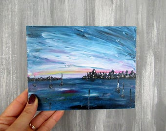 Mini blue ocean abstract painting acrylic painting