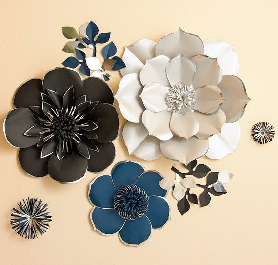 Large paper flower backdrop unique giant paper flower wall large paper flower backdrop unique giant paper flower wall silver black royal blue paper flower with silver shine along edges of petals mightylinksfo Gallery