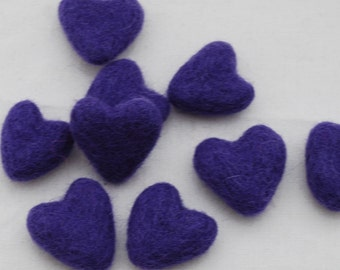 3cm 100% Wool Felt Hearts - 10 Count - Purple