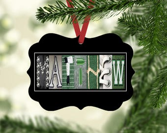 Soccer Name Ornament, Soccer Christmas Ornament, Personalized Ornament, Soccer, Gift Tag, Soccer Player Gift, Ornaments, gifts under ten