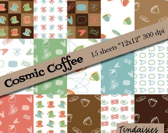 Digital Scrapbook Paper - Cosmic Coffee - 15 patterns
