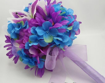 Blue and Purple Wedding Bouquet, Hydrangea, Daisies, Lilies