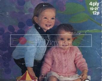 "Baby Cardigan 19-21"" 4ply Sirdar 3250 Vintage Knitting Pattern PDF instant download"