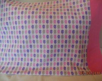 SALE ------ Pink Elephants Flannel Pillowcase