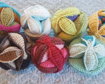 Sale-Handmade crochet puzzle balls, Amish puzzle balls, stuffed toy, learning toy