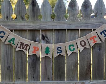 Camp Banner / Custom Burlap Banner / Burlap Banner / Name Banner / Camp Birthday Party
