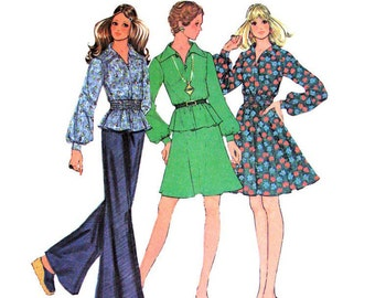 70s Vintage Pattern Dress Top Skirt McCalls 3720 Flared Dress Gathered Waist Womens Bust 34 Junior Petite Sewing Pattern