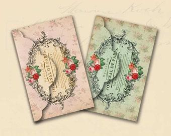 Paris Envelopes No 4 Shabby Chic Paris Envelopes Journal de Paris Digital Paper Instant Download
