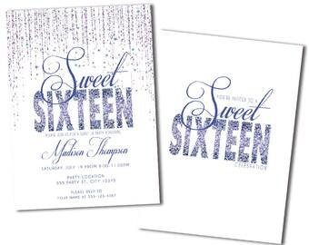 Purple Glitter, Sweet 16 Party Invitation, Printed Invitations or Digital File
