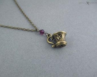 Tea Cup Charm Necklace - Bronze