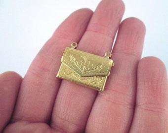 Raw Brass envelope locket charm pendants, Pick the amount you want, D129
