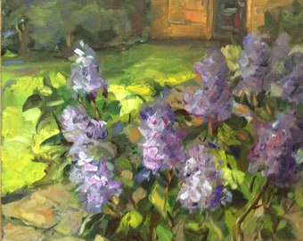 Lilacs Painting Original Oil Floral Painting 8 x 10""