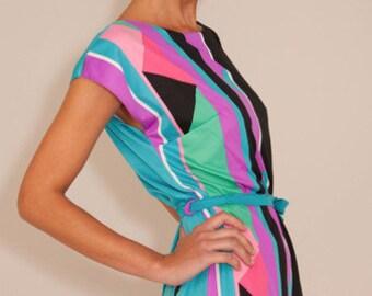 SOLD-Vintage Black Neon 80's geometric floral Stripe Dress