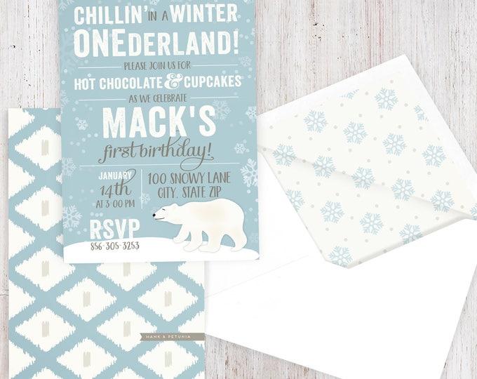 Featured listing image: Winter Onderland Polar Bear Birthday Party Invitation, Winter Wonderland Party, First Birthday, Envelope Liner