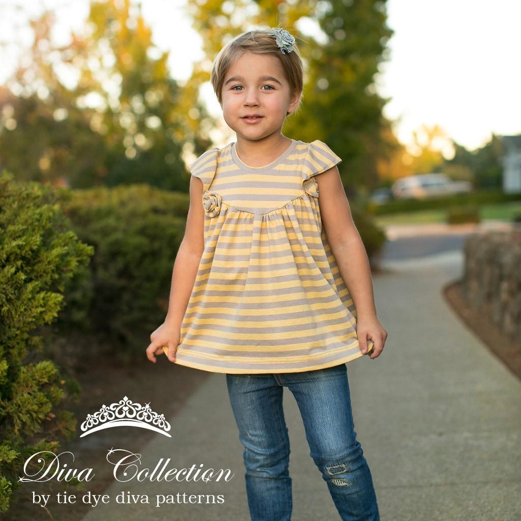 Girls Knit Fabric Dress Pattern - Tunic and Dress Length - Flutter ...