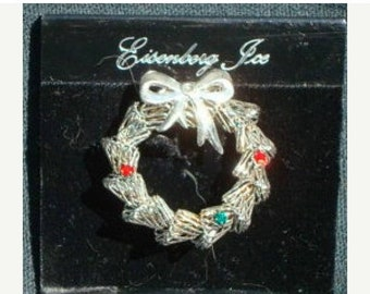 ON SALE Christmas Wreath Pin Brooch Eisenberg Ice on Original Card Silver with Rhinestone Accents