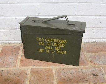 Vintage Ammo Box Vintage Industrial Military Storage Box Vintage Ammunition Box