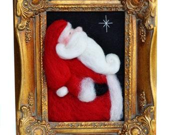 Needle Felted Santa-  Santa Claus - Noel - Christmas Santa - Ready To Ship