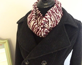 Hand knit burgundy (maroon) and light grey cowl scarf