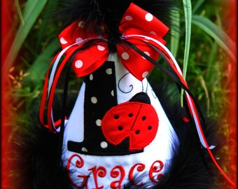 Ladybug Birthday Hat, Ladybug First Birthday (Any Number) You Choose Colors, by Gingham Bunny Embroidery