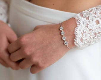 Bridal bracelet Cz cubic, bridal Circle Bracelet, Bridal jewelry, Silver Bracelet, Wedding accessories, Bridal silver Cz  Bracelet , Bijoux