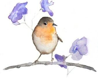 Watercolor Bird Painting ORIGINAL Art - Signed Watercolor Animal Painting - 5.5 x 5.5 inches - Miniature Art - Birds