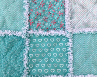 Baby Rag Quilt, Crib Quilt, Toddler Blanket, First Romance, Moda, 35 X 48. Turquoise, White, Handmade, Ready to Ship