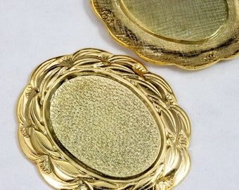40mm Gold Scalloped Edge Oval Cabochon Setting #2164