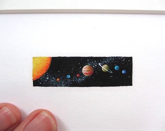 Solar System Miniature, 8x10 Matted Giclee Print, Tiny Art