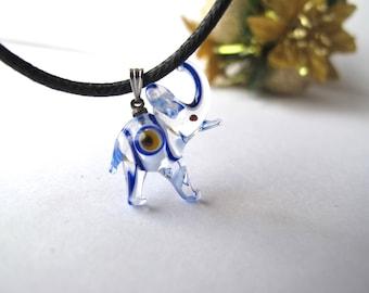 Cobalt Blue and Clear Elephant Evil Eye Pendant