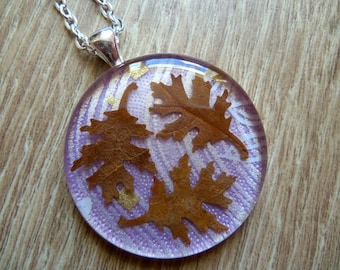 Oak Leaves Necklace Real Oak Leaf Japanese Washi Origami Paper Necklace Resin Jewellery Autumn Necklace Brown Purple Violet
