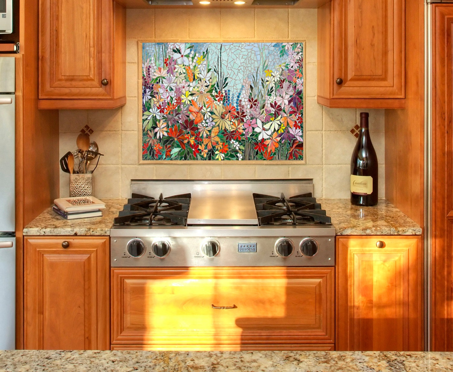 Custom kitchen mosaic backsplash art hand cut stained glass zoom dailygadgetfo Images