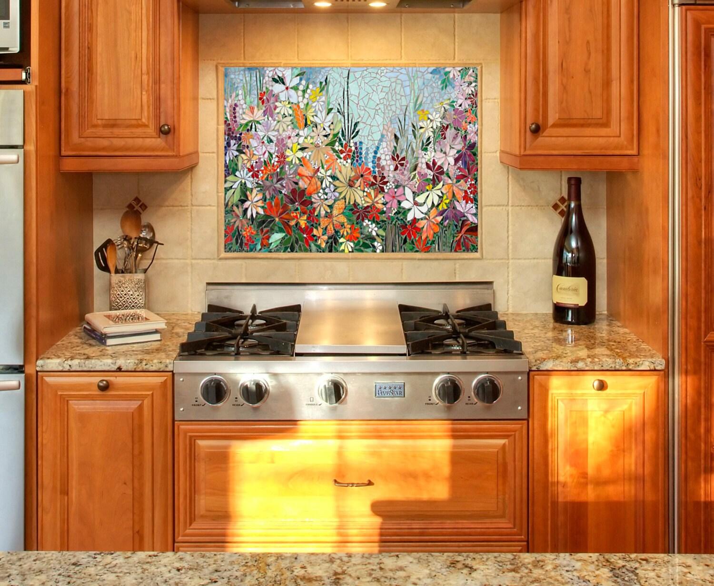 Custom kitchen mosaic backsplash art hand cut stained glass zoom dailygadgetfo Choice Image