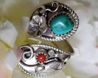 Sterling Silver Turquoise & Coral Ring (st - 2256)