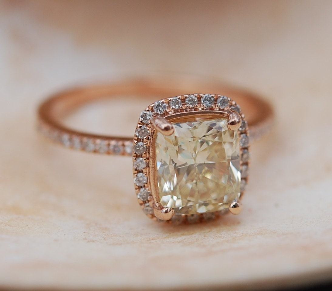 stone rings wedding three canary diamond ring engagement custom hand