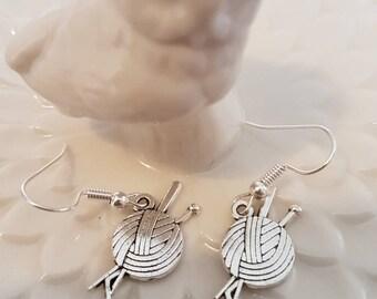 Cute knitting inspired fish hook dangle earrings - ball of wool - knitting needles