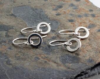 7mm Flat Ring Earrings, Sterling Silver Earrings, Tiny Drops, Modern Jewelry, Ring Earrings, Minimalist Earrings, Handmade Earrings
