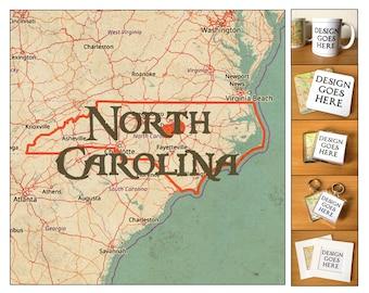 North Carolina Vintage Map Coasters, Mugs, Magnets, Keyrings & Prints