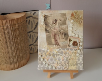 Painting on canvas mixed media painting for mother's day or birthday. Vintage style