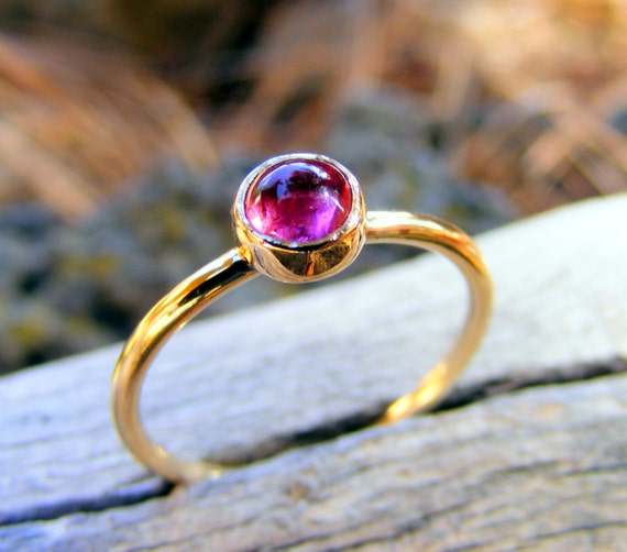 Pink Tourmaline Gold Ring,  Solid 14k Gold Stacking Ring With Pink Rubellite, October Birthstone Stacking Ring, Skinny Ring