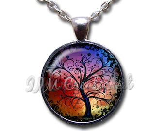 Tree of Life Glass Dome Pendant or with Chain Link Necklace NT149