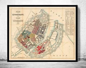 Old Map of Copenhagen Denmark 1853 , City Plan Vintage Map
