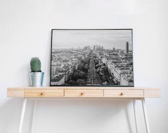 Paris Panorama, Paris, France / Landscape, Black & White / Wall art decor, print, photo, printable, photography, digital download