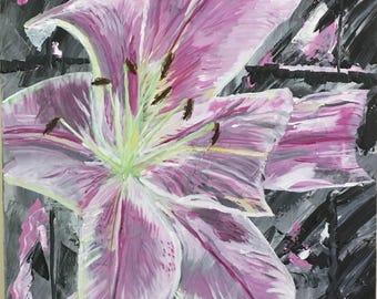 "Original acrylic painting ""Stargazer at night"" . Painting of a Stargazer Lily."