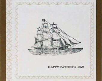 Fathers Day Card, Handmade Card, Stampin Up Fathers Day Card, Masculine Card, Card For Him, Card For Dad, Nautical Card, Ship Card
