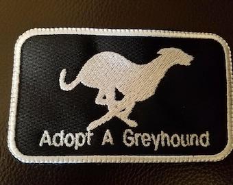 Adopt A Greyhound Patch, Embroidered.  Greyhound Adoption, US Made